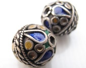 Two Vintage Silver Enameled Beads from Morocco