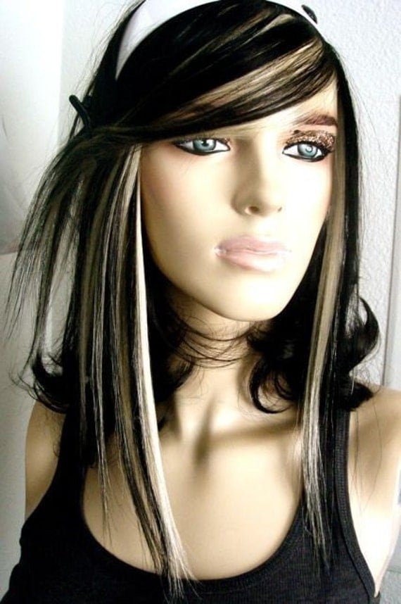 Black and Platinum Blonde Fringe HUMAN HAIR