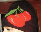 Cherries in winter girlie sexy cute S-M winter beanie hat