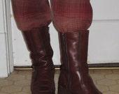 Vintage 70s Brown Leather Sheepskin Winter women boots 8 8.5 W Germany