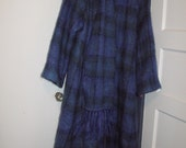 Ireland Donegal purplish blue mohair coat plaid fringed scarf M L mint