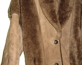 Vintage light brown tan real shearling long coat 80's made in Canada size M