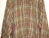 Vintage Ireland woven wool blend plaid jacket vest S M L purple olive off white