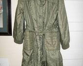 Vintage 80s sage green khaki lightweight ladies coat size L Sears