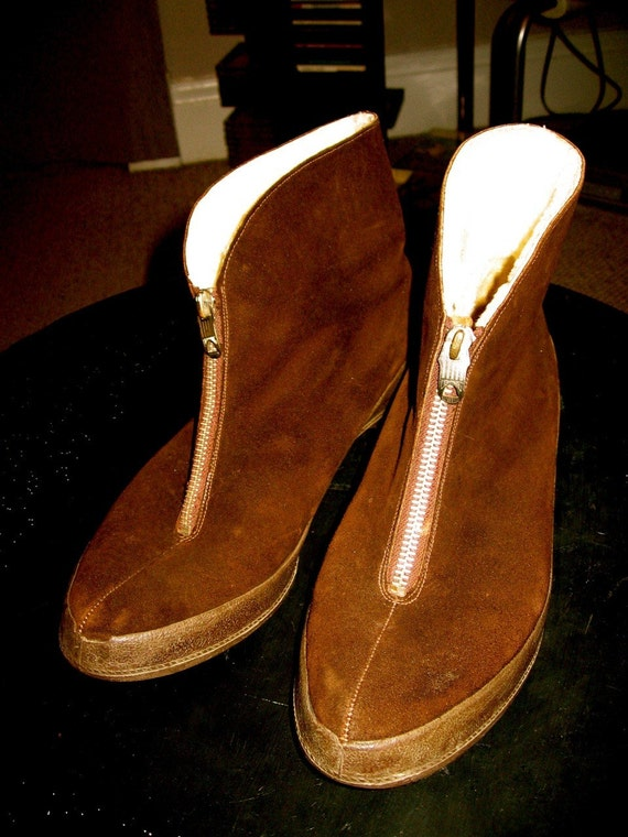 Vintage 60s 70s brown suede shearling Clarks Igloo's ankle boots 39 8 8.5