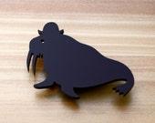 Laser Cut Brooch Walrus wearing Bowler Hat Black