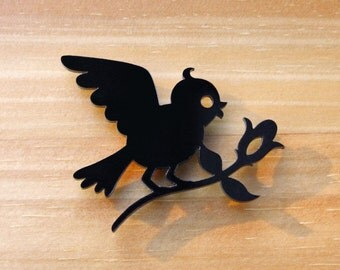 Laser Cut Acrylic Brooch Bird Bringing Flower - Black or Red or White SALE