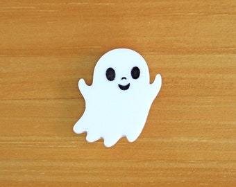 Laser Cut Acrylic Brooch White Ghost Cute