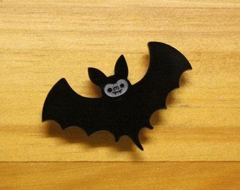 Laser Cut Acrylic Brooch Black Bat Cute