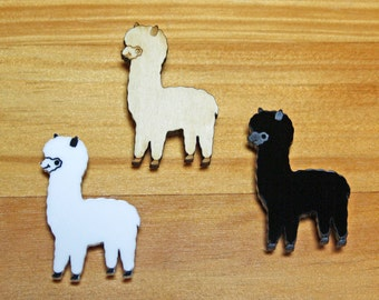 Laser Cut Brooch Cute Alpaca white, black, blue or wood