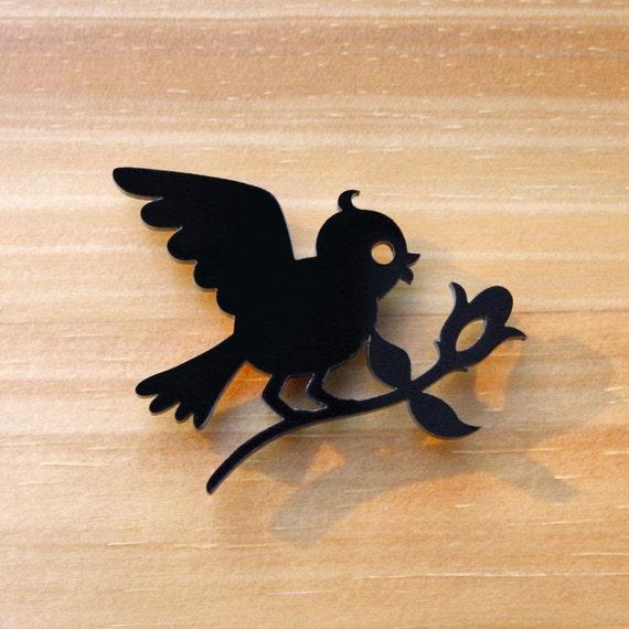 Laser Cut Acrylic Brooch Bird Bringing Flower - Black or Red or White SALE