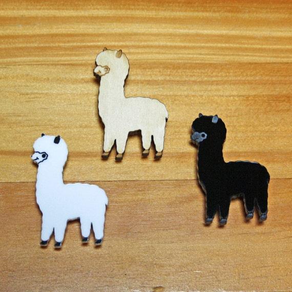Laser Cut Brooch Cute Alpaca white, black, blue or wood