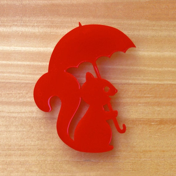 Squirrel with Umbrella red or blue laser cut brooch