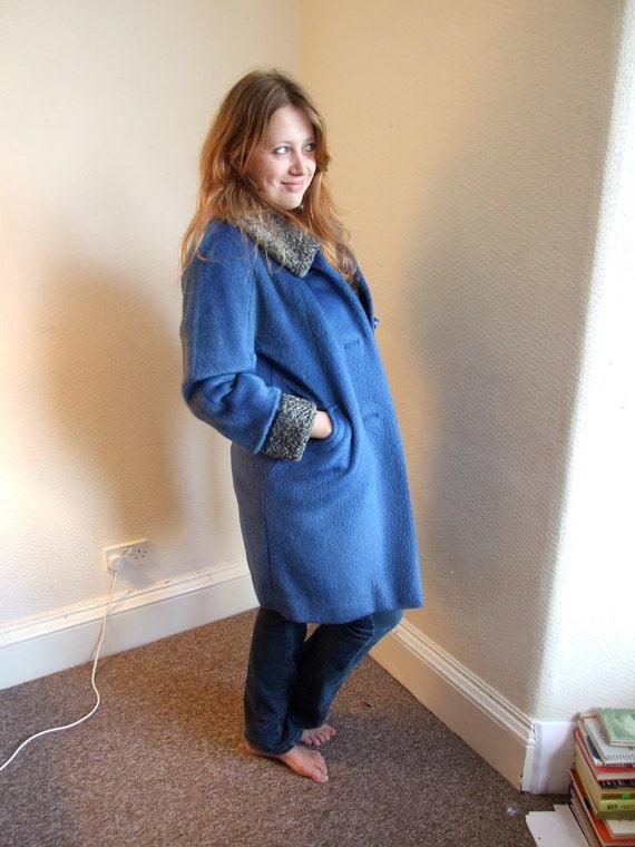 Dazzling plus size electric blue bespoke 1960s 100% wool coat