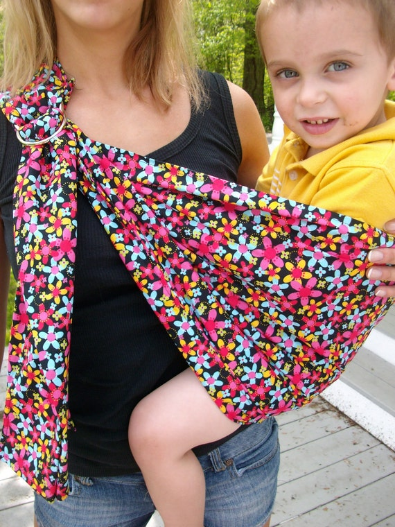 Black and Pink Tiny Floral Ring Sling