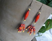Earrings - Dangle, Paper Bead, Maasai Red - free shipping