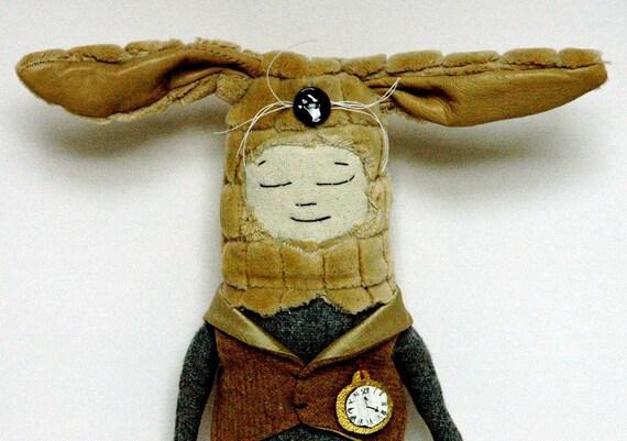 Alice Bunny Cream fur, grey wool.