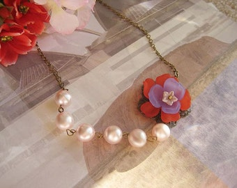 Stacked colorful flower pearl necklace