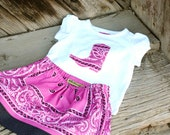 Pink Bandana Skirt Set Custom Sizes 12m, 2T, 3T, 4T, 5T with Cowboy Boot Applique Shirt