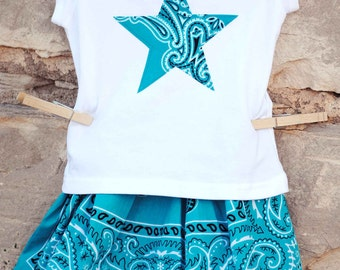 Cowgirl Blue Bandana Skirt Set Custom Sizes 12m, 18m, 2, 3, 4, 5, 6 with Custom Appliqued Shirt in Western Star, Cowboy Boot, Horse Head