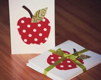 Teacher Gift- Set of 6 Apple Fabric Notecards