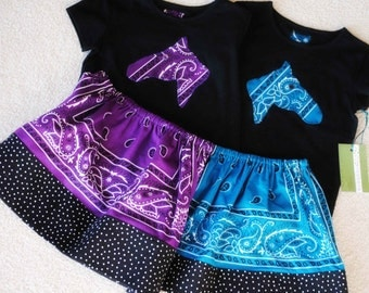 WESTERN Turquoise Aqua Bandana Skirt Set CUSTOM Size with Horse Head or Cowboy Boot Applique Black Shirt