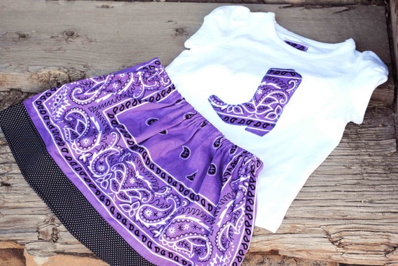 Purple Bandana Skirt Set Size 2T with Western Cowboy Boot Applique Shirt for Your COWGIRL