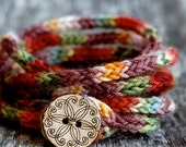 "Rustic Mini I Cord Wrap Bracelet- 20"" Length - Button Closure - Hand Dyed Wool Yarn --Reserved For Lily--"
