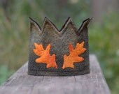 Upcycled Felt Crown - Olive with Orange Oak Leaves  and Adjustable Ties