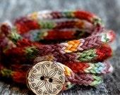 Women's Wrap Bracelet - KNITTING PATTERN - Rustic I Cord - Coiled Bracelet - Lanyard - Friendship Bracelet - Hippie Bracelet - Boho Bracelet