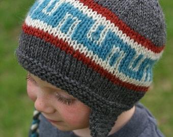 Knitting Pattern - Earflap Hat - Knit Hat Pattern - Knitted Hat Pattern - Kids Hat Pattern - Baby - Children - Men - Women - Boy - Girl