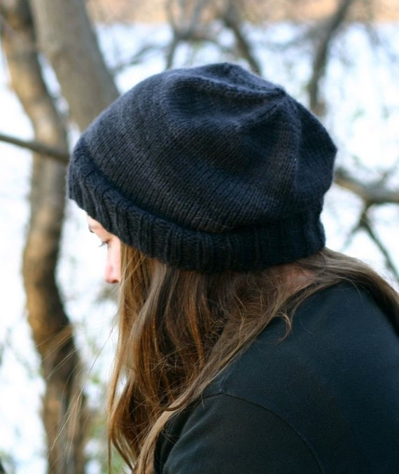 Knitting Pattern Kendall Slouchy Beanie Hipster Knit Hat Cap