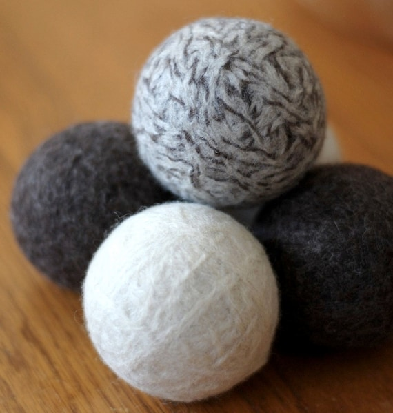 Felted Wool Balls - Natural Home Decor - Set of 5