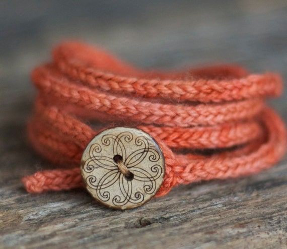 Coral Wrap Bracelet - Rustic I Cord - Wooden Button - 5 Wrap - Boho - Natural Wedding Jewelry
