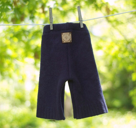Upcycled Wool Longies - Starry Night - Navy Blue