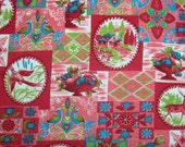 """Cotton Print - Vintage Sixties - Barkcloth Feel - Red, Turquoise, Pink and Green Accents (25"""")"""