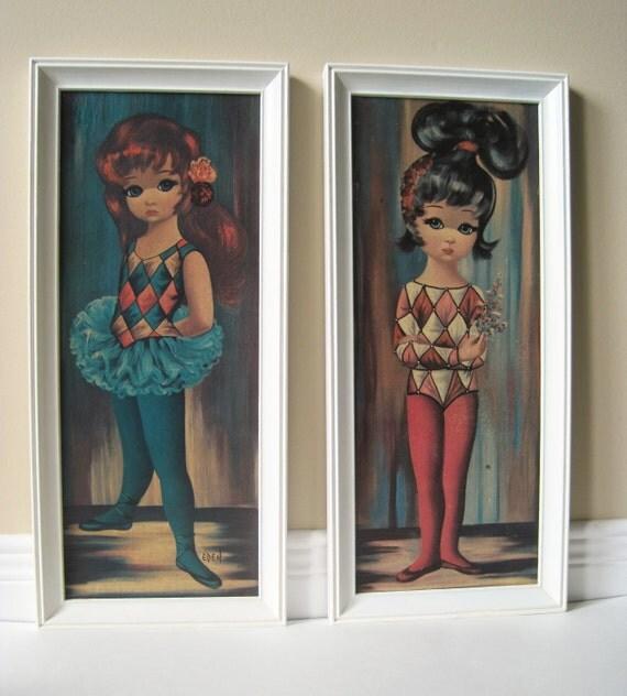 Eden Print - Big Eyed Harlequin Ballerina Girls - Framed Prints