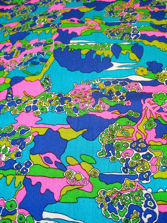 Vintage Fabric -  Psychedelic Abstract Nature Fabric - By the Yard