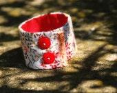 Red Flowered Wrist Cuff