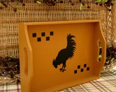 Rooster Tray, Mustard Yellow with Black Rooster and Black Check Accents