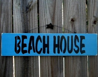 Beach House Sign, Painted Wood, Beach Decor, Ocean, Sea, Nautical Decor, Hand Painted, Wood Sign, Nautical Blue, Black Lettering