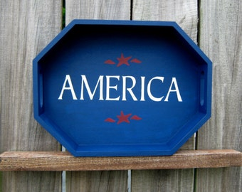 Painted Wood Tray, America, Decorative Tray, Patriotic, Red, White, Blue, Octagon, Navy Blue, White Lettering, Red Stars