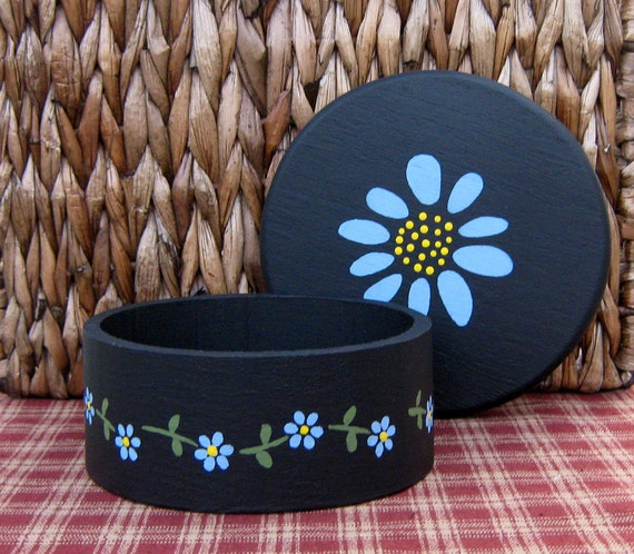 Painted Wood Box, Painted Flowers, Round Box, Trinket Box, Jewelry Box, Black, French Blue Flowers with Yellow Centers