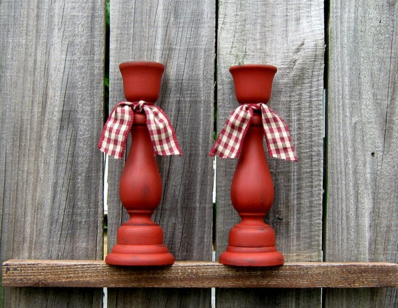 Prim Taper Candle Holders, Barn Red with Red and Tan Ribbon