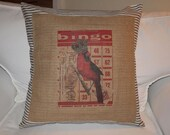 BINGO BIRD - 20 inch  - RUE de PIPER PILLOW COVER -EcoChic - Shabby Chic - Cottage Chic - French Country - BLACK and CREAM TICKING and BROWN BURLAP - RU Piper Original Design