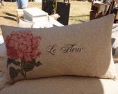 "LA FLEUR - Pink Hydrangea Lumbar - 14""x23""  - Lumbar Style - Timeless Chic - RuPiper Designs Original Design"