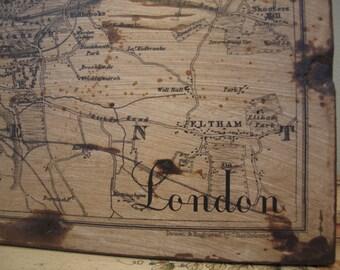 PLAN of LONDON - Vintage Map - 30x36 - Home Decor - Handmade - RuPiper Designs Original
