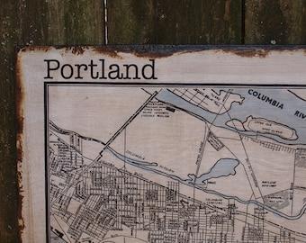 VINTAGE PORTLAND MAP - 30x36 -Salvaged Wood - Handmade - Home Decor - RuPiper Designs Original
