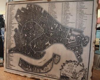 Vintage VENICE Map - 30x36 -Salvaged Wood - Handmade - Home Decor - RuPiper Designs Original