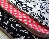 RESERVED FOR STEPHBODLE - Black, White & Pink - Best Burp Cloth Ever - Designer Cotton - Gift Pack